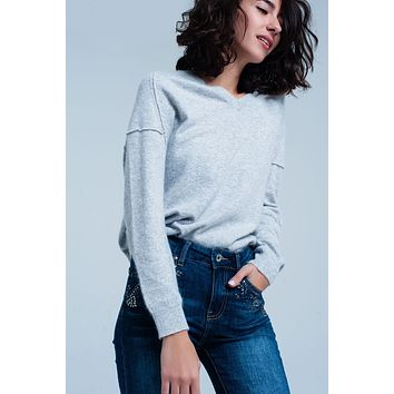 Angora V-Neck Sweater