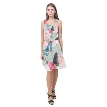 Roses And Butterfly Summer Beach Dress