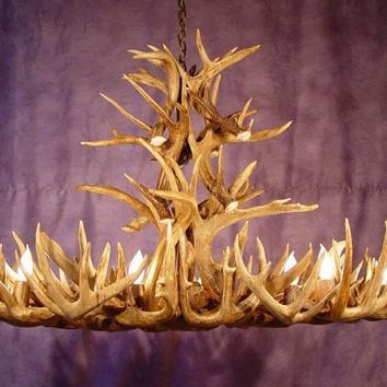 White Tail Antler Pool Table Chandelier....Oblong