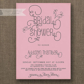 Dusty Rose Bridal Shower Invitation Blush Pink Pastel Modern Swirly Script Bridal Shower Hen Lingerie DIY Printable or Printed - Addison