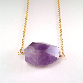 Amethyst Necklace Purple Amethyst Gold Necklace Pendant Amethyst Nugget Deep Purple Faceted Amethyst Crystal Necklace Chunky Stone