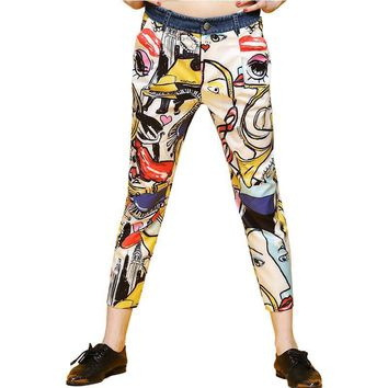 2017 Summer Graffiti Beautiful prints pants women fashion european and american style Ankle length pants S-XL size