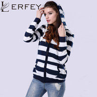 LERFEY Autumn Women Hoodies Casual Loose Sweatshirt Striped Zipper Hoodie Sudaderas Mujer Plus Size 3XL 4XL Pockets Sweatshirts