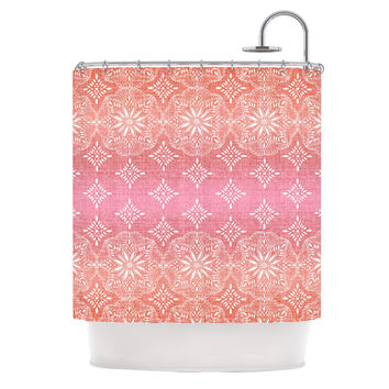 "Suzie Tremel ""Medallion Red Ombre"" Pink Shower Curtain"