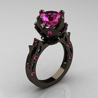 FANCY 2.50CT PINK ROUND CUT 925 STERLING SILVER ENGAGEMENT RING FOR HER