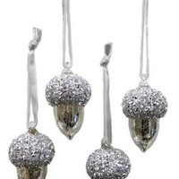 Mercury Glass Crystal Valley Oak Acorn Ornament Hand Blown Top Clear Platinum (Set 4)....