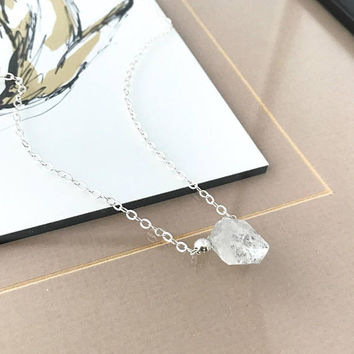 Herkimer Diamond Necklace, Silver Herkimer Diamond Necklace, Silver Raw Herkimer Diamond Necklace, Raw Herkimer Diamond, Herkimer Diamond