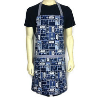 Star Wars Apron for Men , Dark Blue and White , Darth Vader , Yoda , C3PO , R2D2 , Sci Fi Kitchen Decor