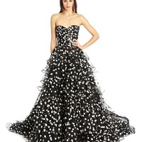 Polka Dot Tulle Tiered Ruffle Gown