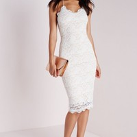 LACE STRAPPY MIDI DRESS NUDE