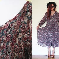 Vintage 90's oversized sheer floral flower button down rose brown babydoll maxi hippie boho bohemian festival