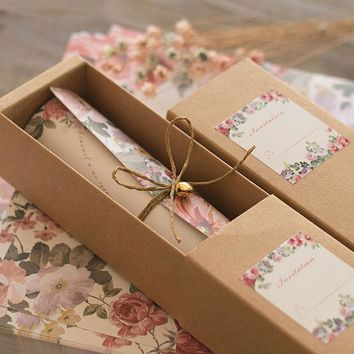 New European style mariage invitations card kraft paper carton hemp rope bell scroll invitations 30pcs/lot