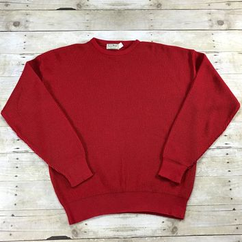 Vintage 1970s L.L.Bean Freeport, Maine Red Cotton Sweater Made in USA Mens Size Large