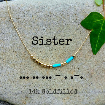 Sister Necklace, Sisters, Morse code, Morse Code Jewelry, Custom Morse Code Necklace, sister in law Morse Code Necklace, sister Gift