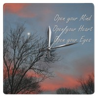 Open your Mind, Heart & Eyes / Inspiration Clock from Zazzle.com