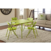 5-piece Card Game, Party Event Folding Table and Chairs Set, Green