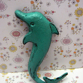 Dolphin Cast Iron Wall Hook Cottage Chic Nursery Tropical Beach Aqua Blue Nautical Lakehouse Bathroom Leash Key Jewelry Sea Creature Lake