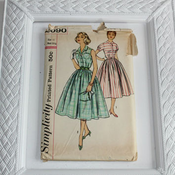 Vintage 50's Sewing Pattern Simplicity #2090 Jr Miss & Misses Full Circle One Piece Dress Sleeveless and Short Sz 11 / Bust 31-1/2 Complete