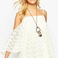 White Spaghetti Strap Short Sleeve Dress