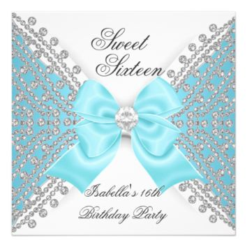 Sweet 16 Sixteen Teal Blue White Diamond Party 5.25x5.25 Square Paper Invitation Card