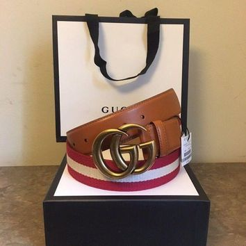DCCKHI2 Gucci Men's Red/Tan/Red Nylon Web Belt With Double G Buckle 105 Size 38-40 Tagre-
