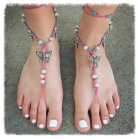 Handmade Butterfly Cotton Candy Barefoot Sandals