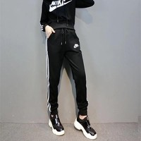 """NIKE"" Fashion Casual  Letter Print Solid Color Stripe Long Sleeve Hooded Set Two-Piece Sportswear"