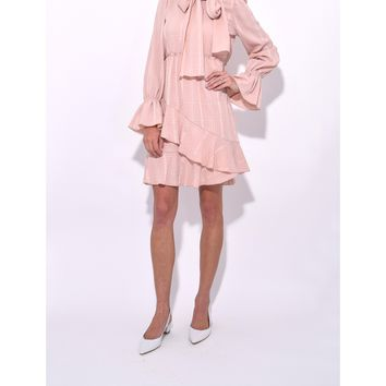 See by Chloé Ascot Tie Dress - Smoky Pink Long Sleeve Dress