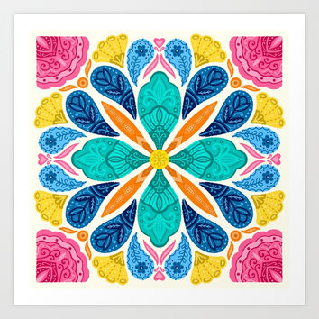 Bright Bohemian Mandala Art Print by noondaydesign