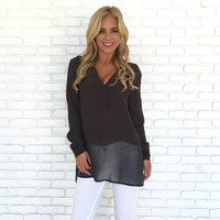 Sheer Heights Blouse In Charcoal