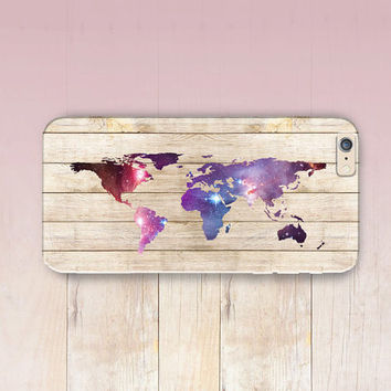 World Map Wood Print Phone Case- iPhone 6 Case - iPhone 5 Case - iPhone 4 Case - Samsung S4 Case - iPhone 5C - Tough Case - Matte Case