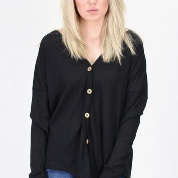 Must Have Solid Thermal Button +Tie Front L/S {Black}