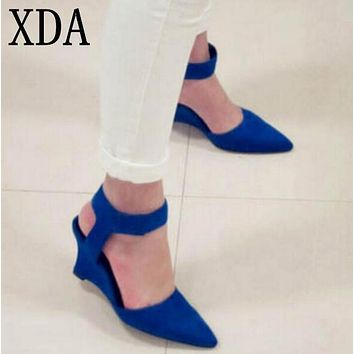 XDA 2017 Women Wedges Fashion Brand Ankle Pointed Toe Pumps Sexy Sandals High Heels Black Blue Orange White Women Shoes Summer