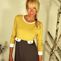"60er Style - Dress ""Goldener Herbst"", amber-gray-cremewhite"