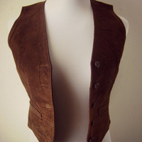80s leather vest | vintage fitted suede vest | hippie boho | xs-s | festival vest | bohemian | folk top | womens vests | brown leather vest