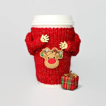 Christmas coffee cozy. Ugly sweater. Christmas gift. Travel mug. Reindeer sweater Mug sweater. Stocking stuffer. Secret Santa. Coworker gift