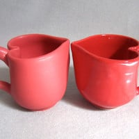 Matte Red Heart Cup coffee mug Valentine Mothers Day by cervants