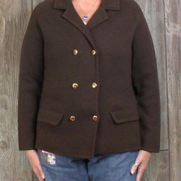 Vintage Lord & Taylor Sports & Country L size Cardigan Sweater Coat Brown Wool Womens