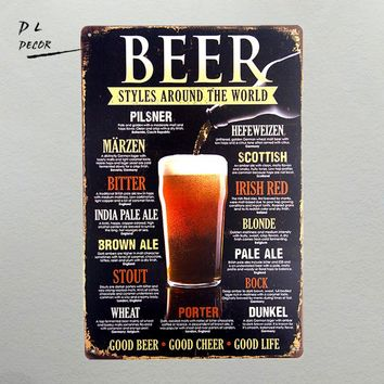 DL-Beer styles around the world good beer good cheer good life Decal Sticker Sign Window Business Restaurant Store