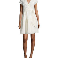 Diane von Furstenberg Kayley Two Eyelet Wrap Shirtdress, Ivory