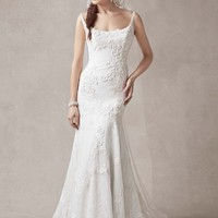 Trumpet Gown with Venise Lace Appliques - David's Bridal