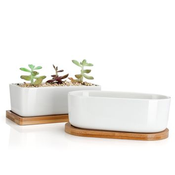 Greenaholics Flower Pots - Ceramic Garden Pots, Medium Planter, Rectangular Plant Pots with Drainage Hole , Bamboo Tray, Set of 2, White