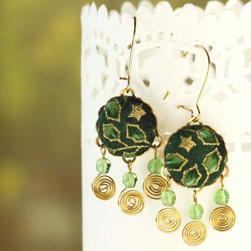 Dangle Earrings - Leaves and Stars - Green and Gold - Romantic Fabric Covered Buttons Earrings Czech Glass Beads
