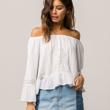 COCO & JAIMESON Ruffle Crochet Womens Off The Shoulder Top