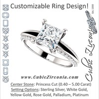 Cubic Zirconia Engagement Ring- The Apryl (Customizable Princess Cut with 3-sided Pavé-style Knife-Edged Split Band)