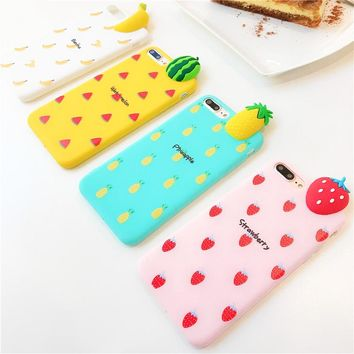 Phone Case For iphone 6 6s 6 7 8 plus X Banana Watermelon Strawberry pineapple Soft  Back Cover