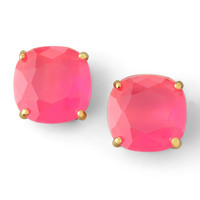 Small Square Stud Earrings, Fluorescent Pink - kate spade new york - Flo pink