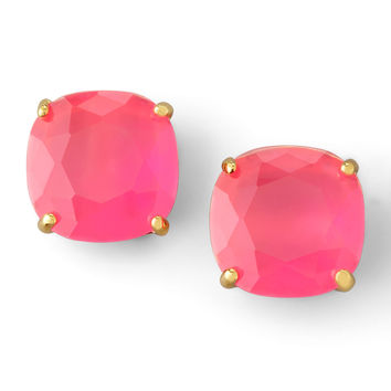 Small Square Stud Earrings, Fluorescent Pink - kate spade new york