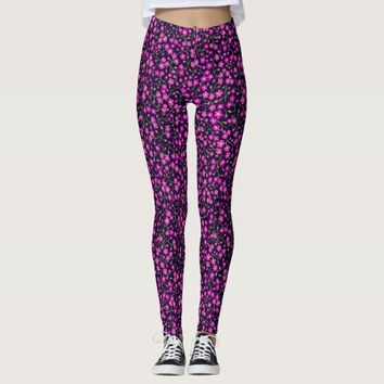 Pink flower pattern leggings