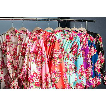 Bridesmaid and Flower Girl Cotton Floral Robe in Eight Colors